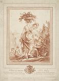 Woman with flower basket in garden