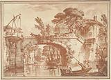 Southern landscape with bridge and houses at river