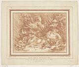 Lying shepherdess with sheep and shepherd with flute