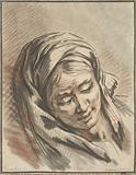 Head of woman with headscarf