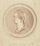 Portrait of Marie Antoinette, Dauphine of France, in bas relief on medallion