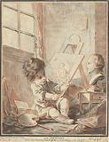 Child as a painter in studio