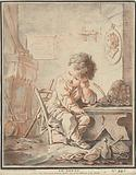 Child as a poet at work in interior