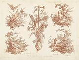 Study sheet with five vignettes with hunting motifs