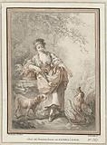 Young woman with dog and rooster and them