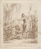 Soldiers talking to man at sailing ship