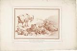 Lying sheep with lambs and goat with young