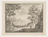 Arcadian landscape with two travelers resting in the shade