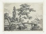 Landscape with man and dog on bridge