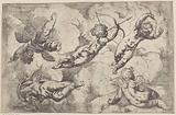 Five putti floating among the clouds
