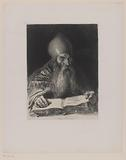 Bearded man with a miter on reads in a book