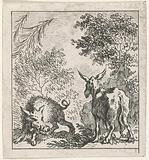 Fable of the donkey and the wild boar
