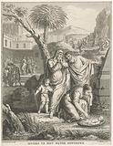 Moses is placed in a rush basket in the Nile