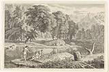 Arcadian landscape with a river and three bathing women