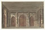 Design for a stage setting of a porch of a prison (?)