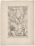 Title print with figures and angels around the cross