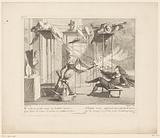 Scene from the Commedia dell'arte with Harlequin, Pierrot, Pulcinello and Mezzetino