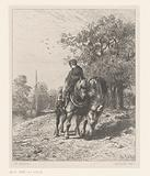 Two draft horses and a rider