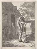 Farmer with child on leash