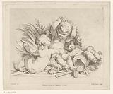 Three amors with sheaf of corn and foliage