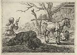 Spinning woman, pigs and donkeys