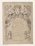 Title print with drapery and coat of arms
