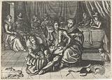 Two women undress a man