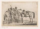 Three hussars with their horses