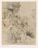 Group of persons, including a convict and executioner, descend a staircase to the scaffold