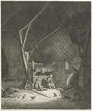 Interior of a barn with mother and two children