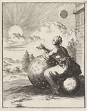 Sitting on a globe and leaning on a celestial globe, woman watches the setting sun
