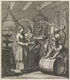 Five maidservants view a magpie in a cage