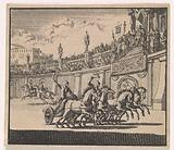 Chariot racing in an amphitheater in Jerusalem