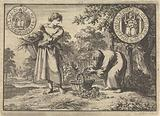 Wondrous appearance of an old man to a poor peasant girl filling his basket with silver coins, 1605
