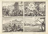 Soldiers fight against Catholic students during a riot in Krakow, 1647 / Explosion of the powder tower in Delft, 1654 …