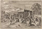 Near Senlis, the procession of King Louis XIV is endangered by high water, 1670
