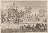 In the harbor of Bergen in Norway, Dutch merchant ships are attacked by the English, 1665