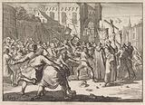 At Danzig, a stone-throwing procession is greeted by the people, 1678