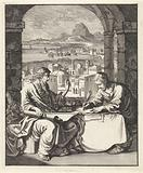 Paul dictates Tertius the letter to the Romans