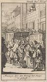 Cardinal Mazarin is welcomed in Paris by King Louis XIV
