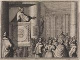 Devil addresses a crowd of people from a pulpit