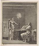 Woman lights up a woman reading in a dark room with a candle