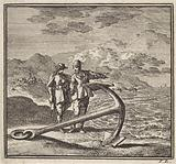 At the high tide line is an anchor with two men having a conversation