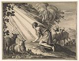 Moses kneels by the burning bush