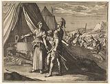 Jael shows Barak the dead body of Sisera