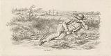 Lying man in a landscape
