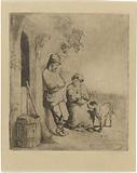 Man and woman with child at door of house