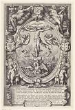 Crucifixion in allegorical frame
