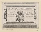 Title print with stone block with title, assignment and coat of arms