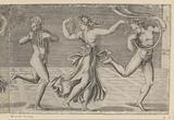 Dancing maenade and satyrs